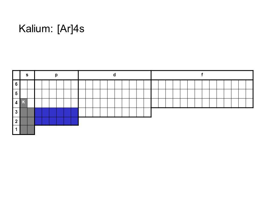 Kalium: [Ar]4s s p d f 6 5 4 K 3 2 1